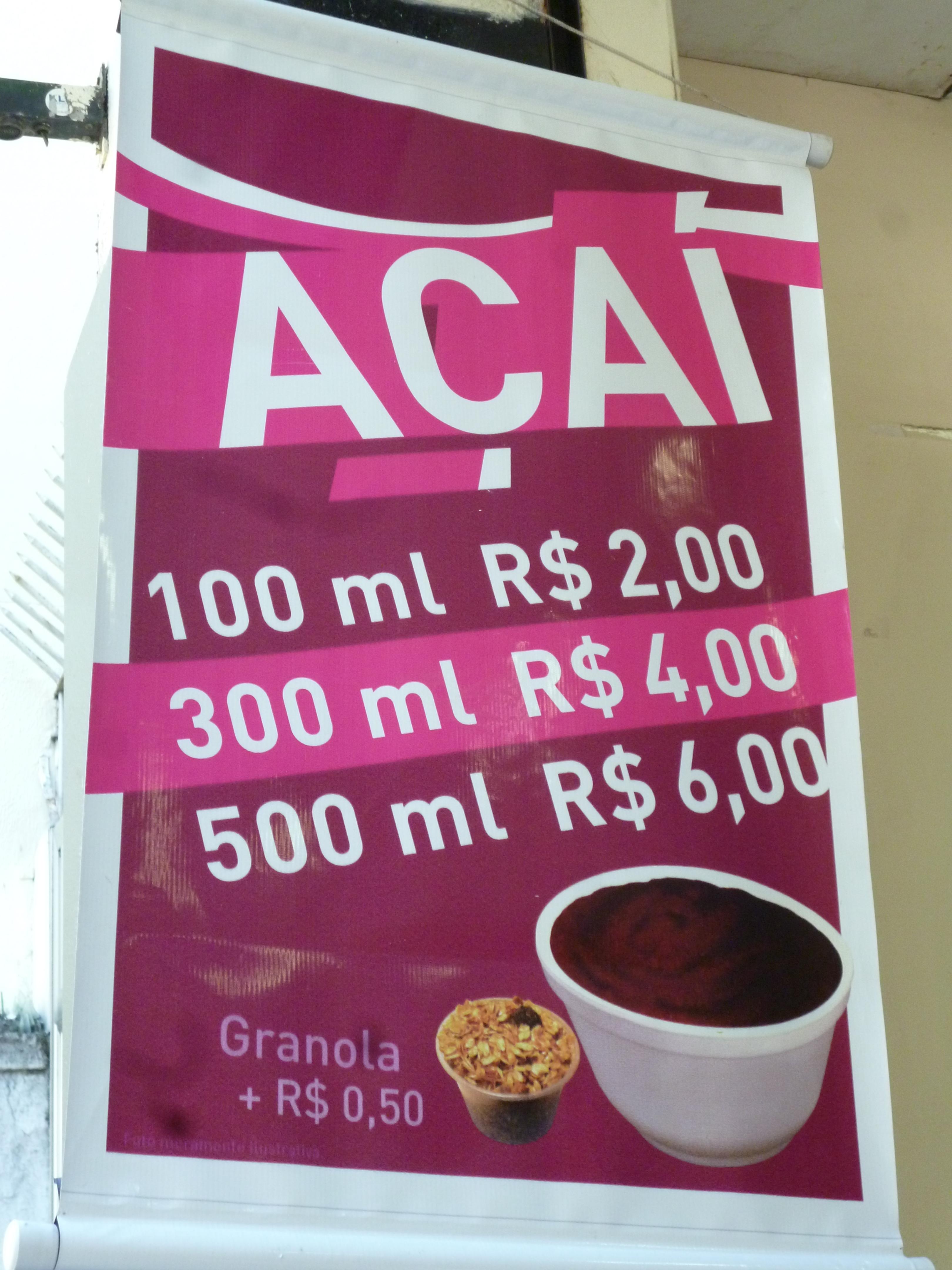 un des nombreux points de vente d'Açai, spécialité locale