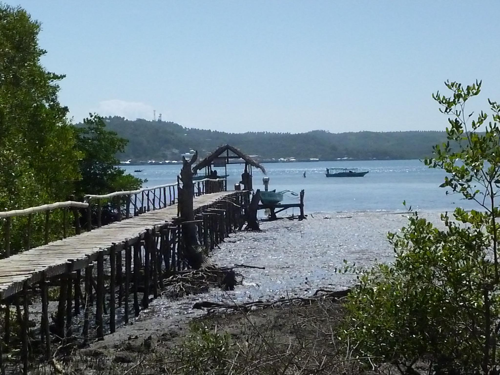 notre navette nous deposera à ce petit ponton, il faut parcourir les derniers mètres à pied dans l'eau